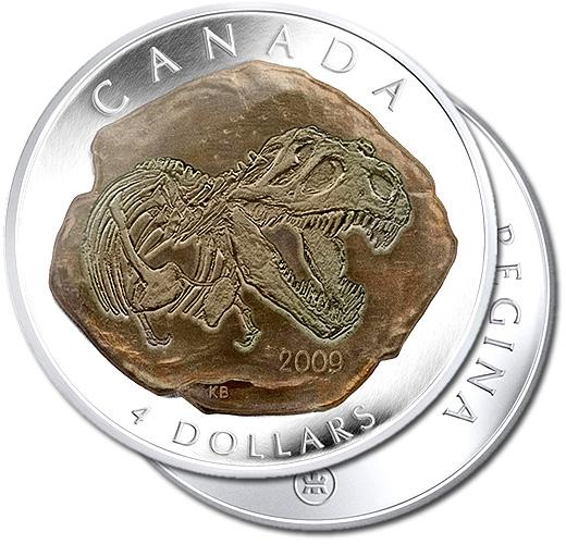 Canada 2009 Tyrannosaurus Rex Silver Proof Dinosaur Fossil Coin