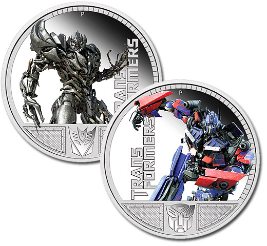 Optimus Prime and Megatron Transformers 2009 Silver Proof Australia Coins