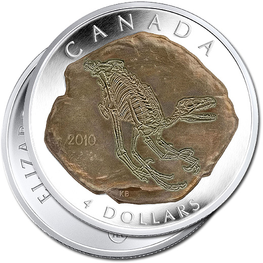 2010 Dromaeosaurus Silver Proof $4 Dinosaur Coin from Canada