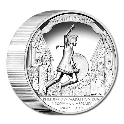 The Pheidippidis' Marathon Run 2,500th Anniversary 2010 Silver Proof High-Relief Coin