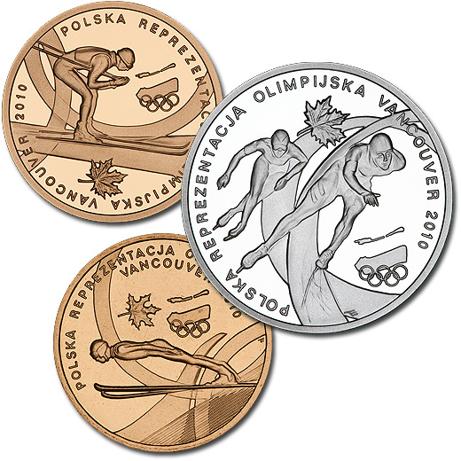 Coins for the Polish Olympic Team at the Vancouver 2010 Winter Games