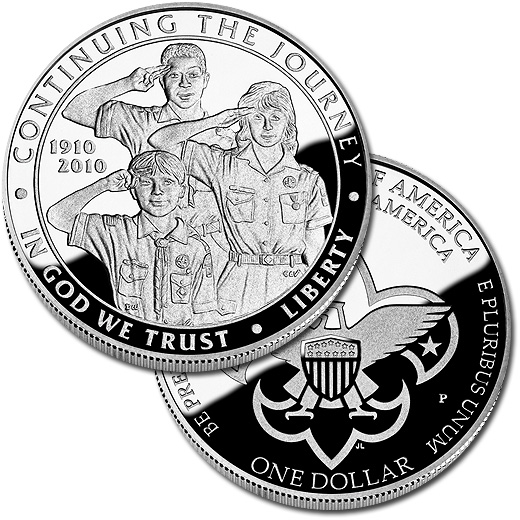 The 2010 Boy Scouts of America Centennial Commemorative Silver Proof Dollar Coin
