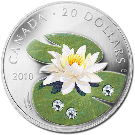 The 2010 Water Lily Silver Proof 20 Dollar Coin with three Crystal Elements