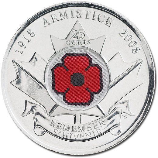 2008 Colored Poppy Circulating Commemorative Coin from Canada