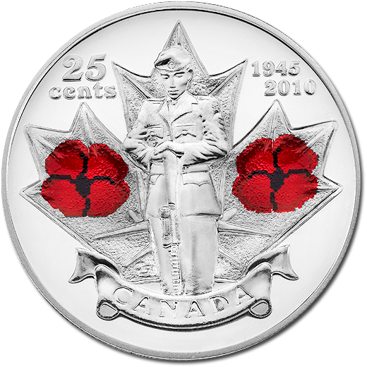 2010 Colored Poppy Circulating Commemorative Coin from Canada