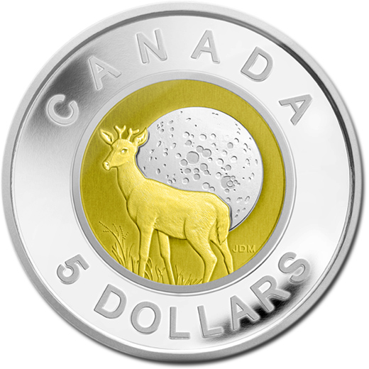 The 2011 Buck Moon $5 Sterling Silver and Niobium Coin from Canada