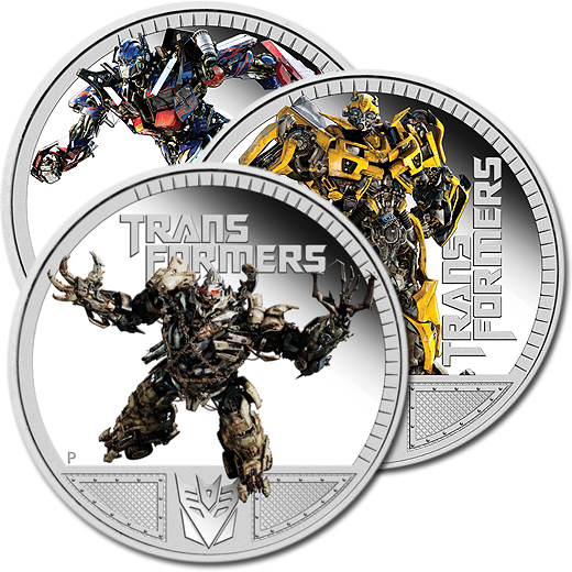 Transformers III - The 2011 Optimus Prime, Megatron and Bumblebee Silver Proof Coins
