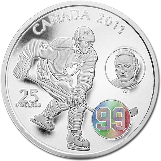 The Great One 2011 Wayne & Walter Gretzky Silver Proof $25 Coin with Hologram